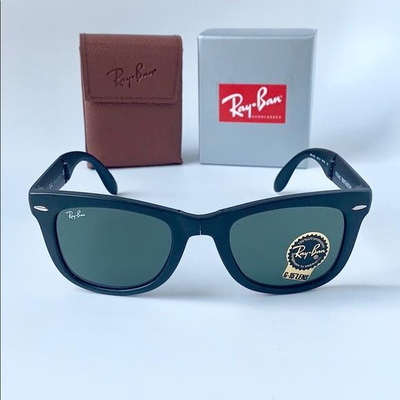 8763f662ed1e13 Ray Ban Wayfarer Folding RB4105 601S Black   Green